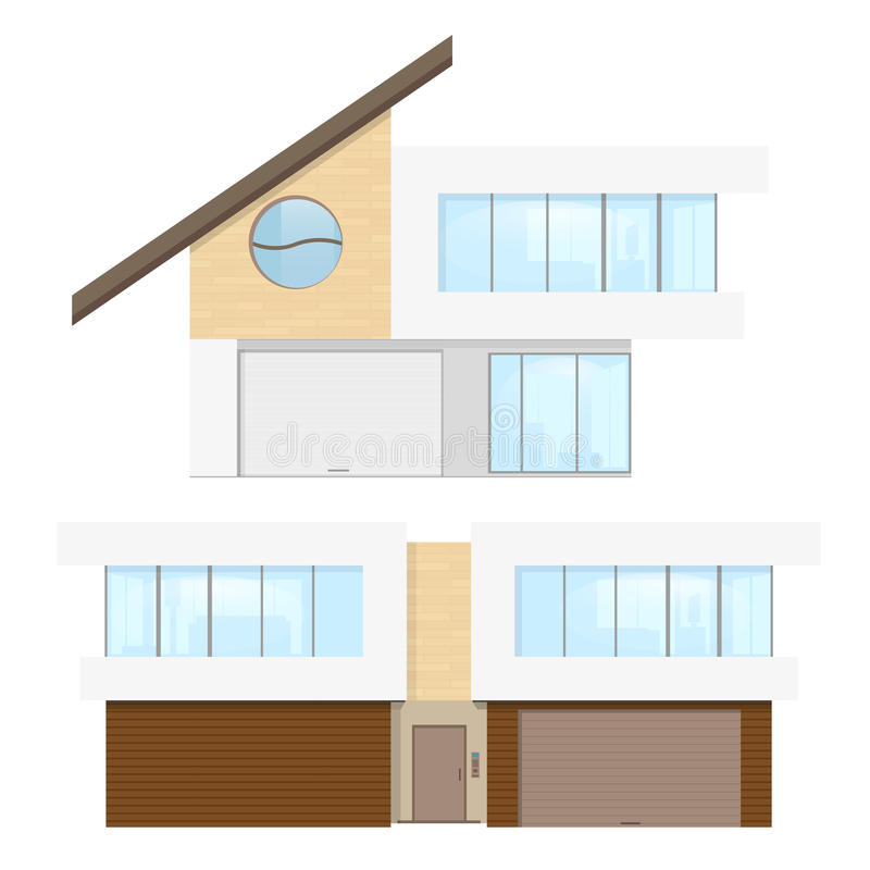 Modern House cottage. Flat private town house cottage. Modern building on royalty free illustration