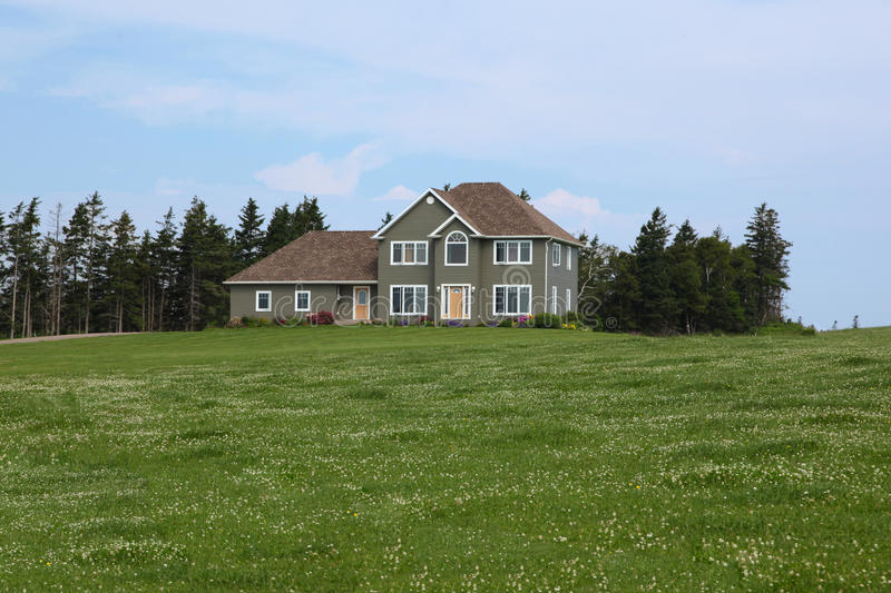 Modern house in countryside stock image