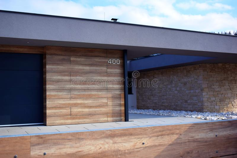 Modern house detail. Modern wooden house detail view royalty free stock photography