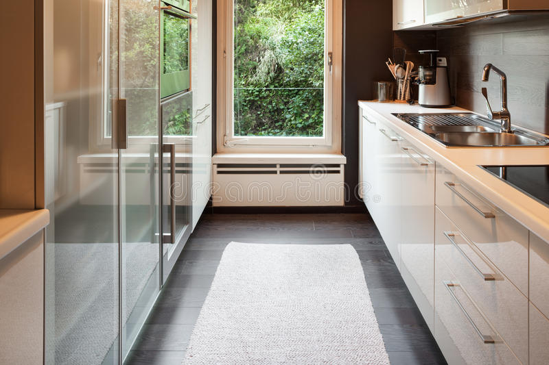 Modern house, domestic kitchen royalty free stock image
