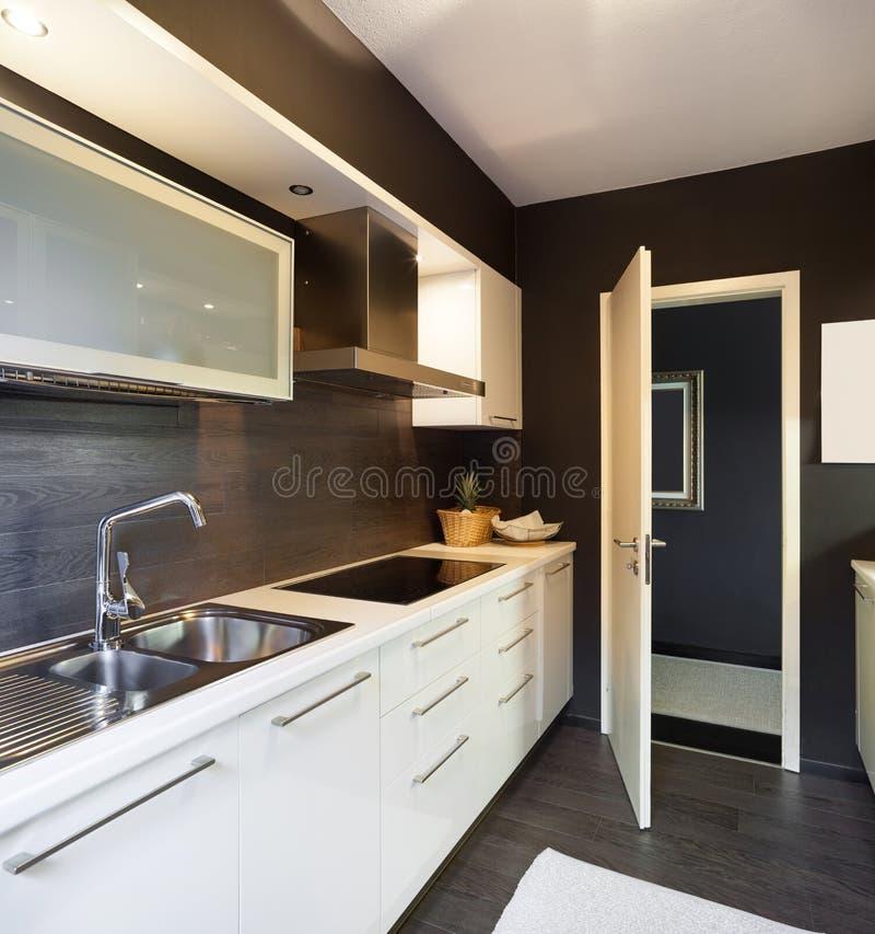 Modern house, domestic kitchen. Architecture, modern house, domestic kitchen view royalty free stock image