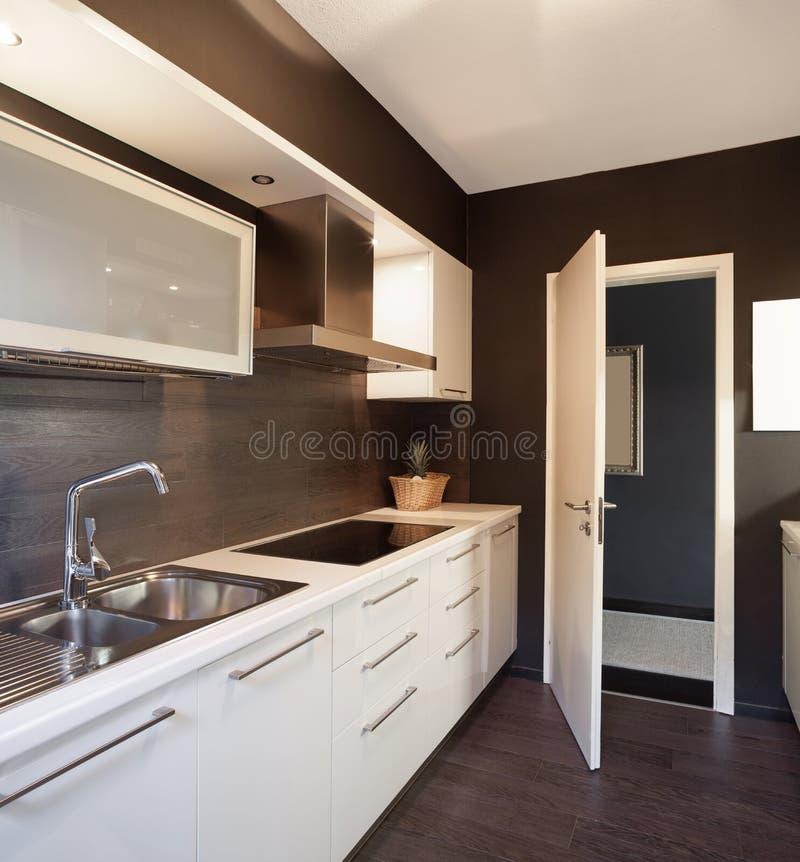 Modern house, domestic kitchen. Architecture, modern house, domestic kitchen view stock images