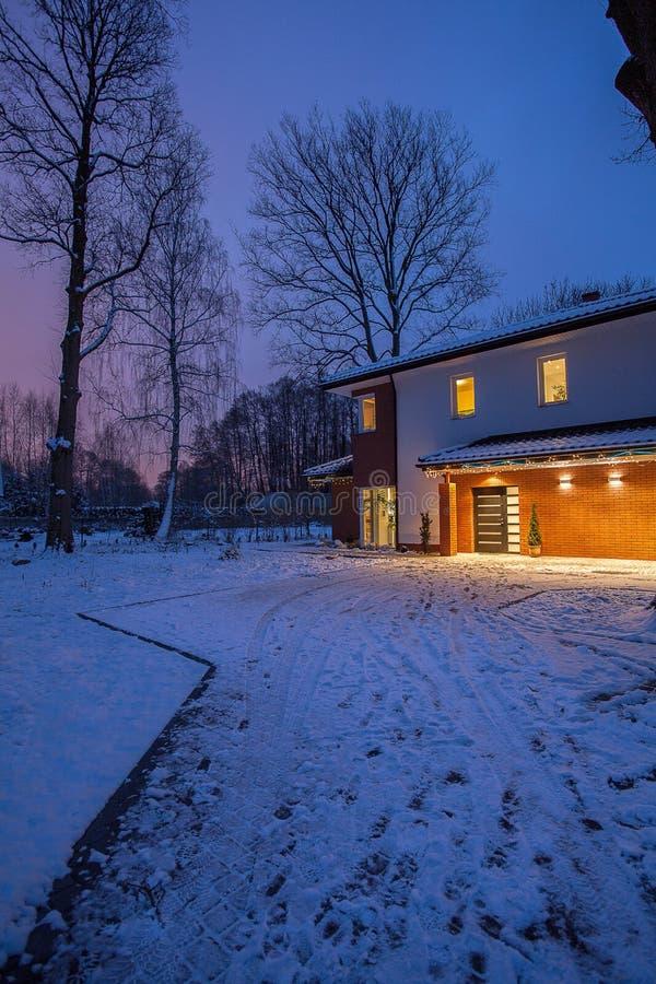 Modern house driveway stock photography