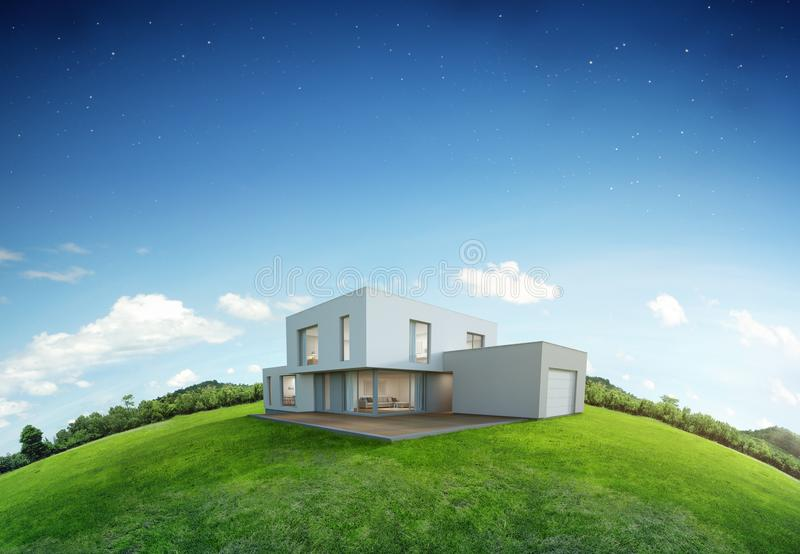 Modern house on earth and green grass with blue sky background in real estate sale or property investment concept, Buying new home stock image