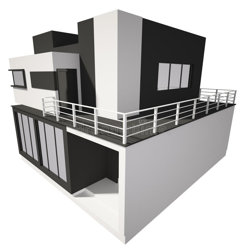 Modern House Exterior Isolated Over White 3d Stock