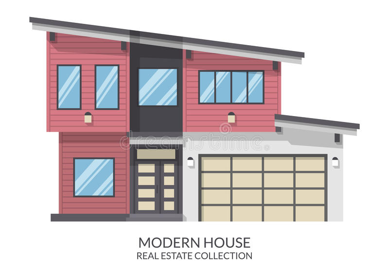 Modern house with garage, real estate sign in flat style. Vector illustration stock illustration