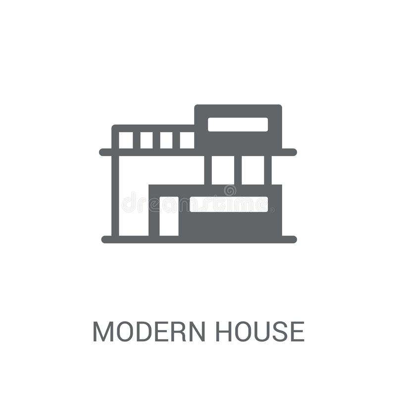 Modern house icon. Trendy modern house logo concept on white background from Real Estate collection. Suitable for use on web apps, mobile apps and print media royalty free illustration