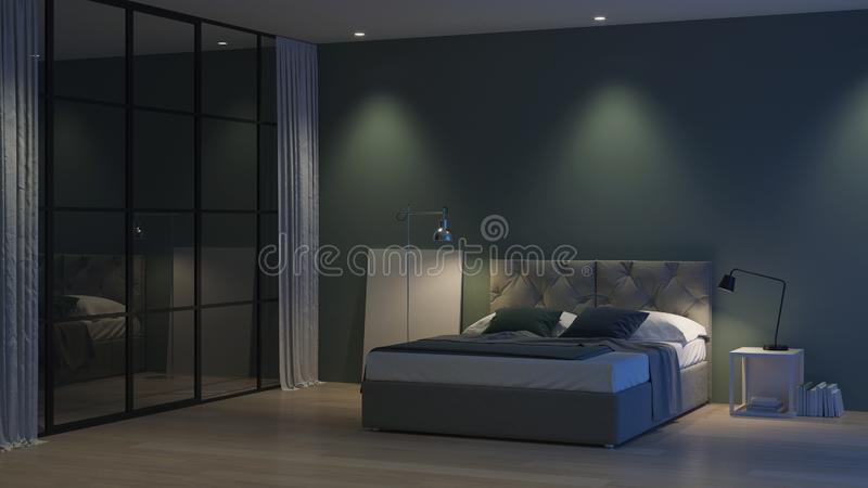 Modern house interior. Interior bedroom with glass partitions. royalty free stock images