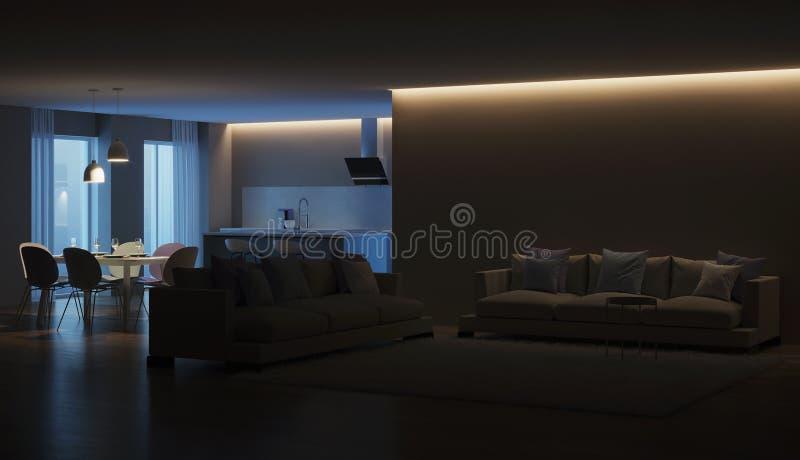 Modern house interior. Blue Kitchen. Night. Evening lighting. 3D rendering royalty free stock image