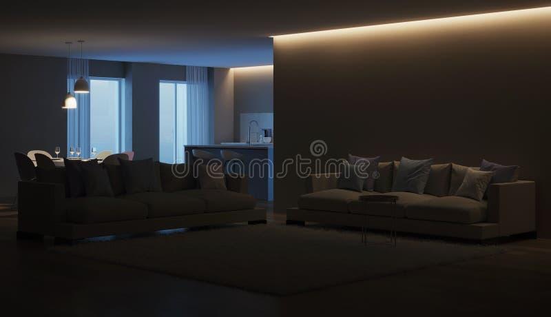 Modern house interior. Blue Kitchen. Night. Evening lighting. 3D rendering stock images