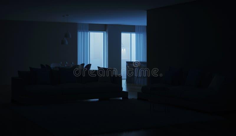 Modern house interior. Blue Kitchen. Night. Evening lighting. 3D rendering stock photos