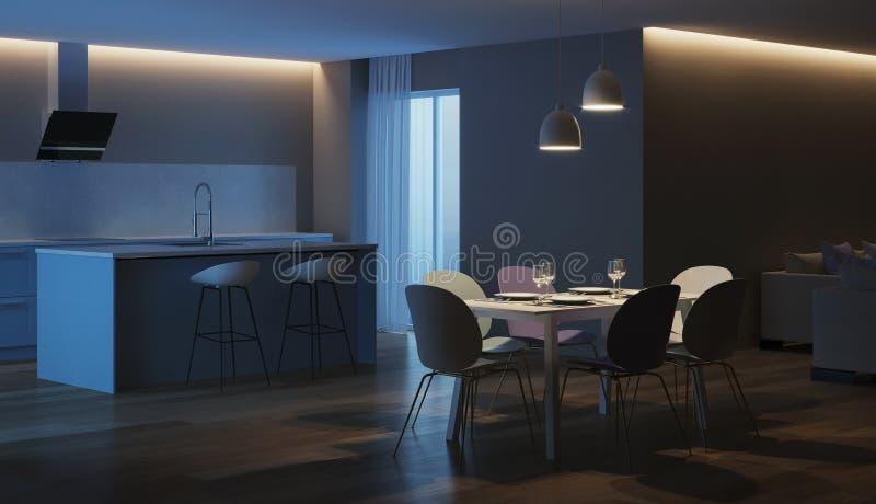 Modern house interior. Blue Kitchen. Night. Evening lighting. 3D rendering royalty free stock photos