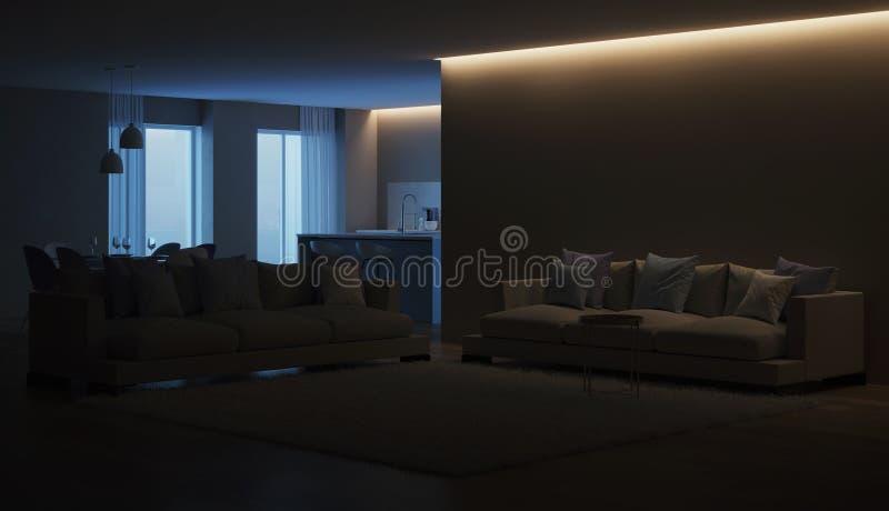 Modern house interior. Blue Kitchen. Night. Evening lighting. 3D rendering stock photography