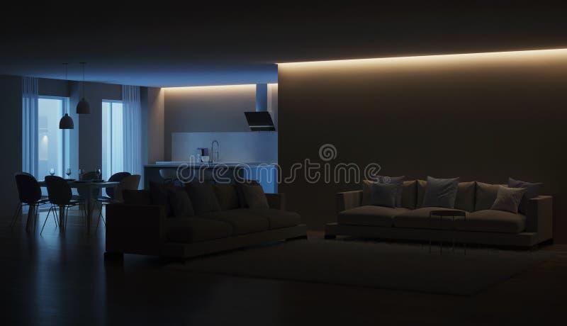 Modern house interior. Blue Kitchen. Night. Evening lighting. 3D rendering stock photo