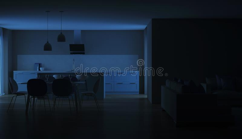 Modern house interior. Blue Kitchen. Night. Evening lighting. 3D rendering royalty free stock images