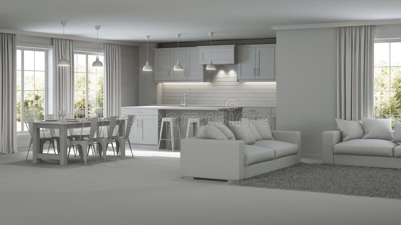 Modern house interior. Gray interior. Modern house interior. Repairs. Gray interior. 3D rendering royalty free stock photo