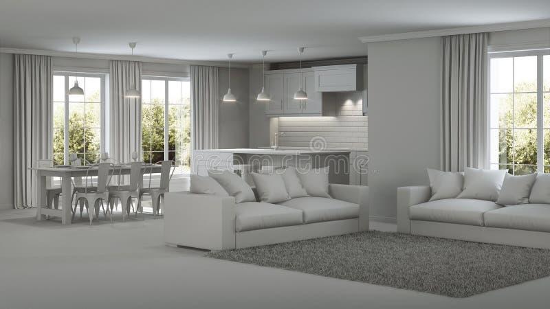 Modern house interior. Gray interior. Modern house interior. Repairs. Gray interior. 3D rendering royalty free stock images