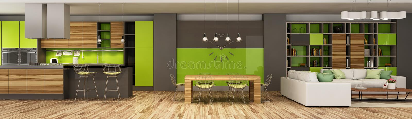 Modern house interior of living room and a kitchen in beige and green colors. Modern house interior of living room and a kitchen in beige and green colors in stock photo