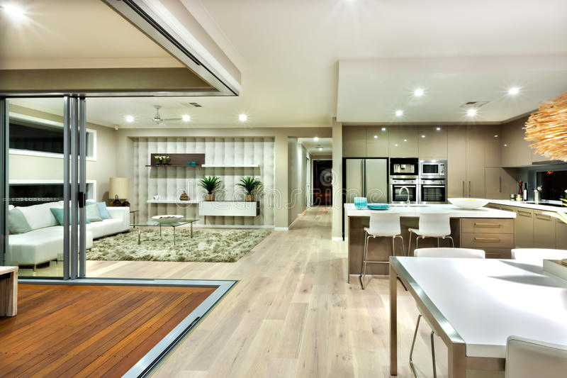 The Modern House Interior Panorama With Kitchen And
