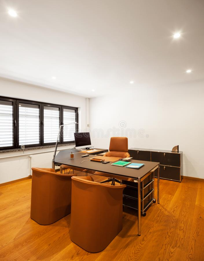Modern house interior, private office stock photo