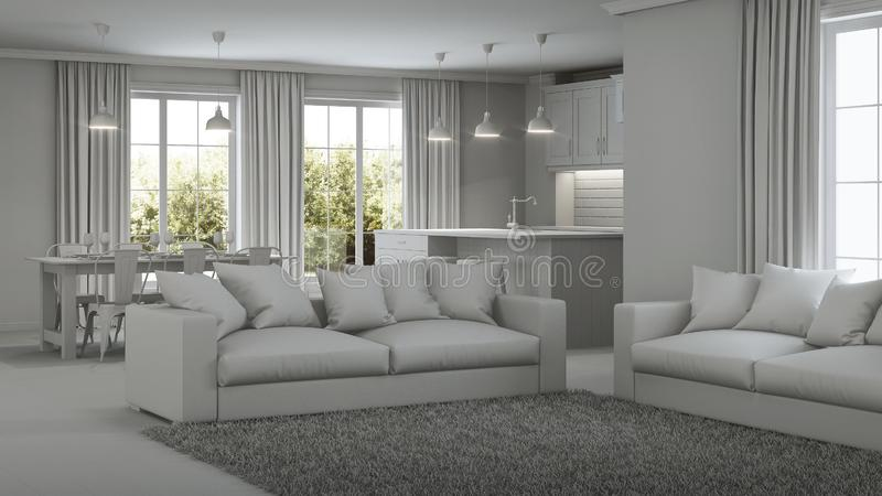 Modern house interior. Gray interior. Modern house interior. Repairs. Gray interior. 3D rendering stock photos