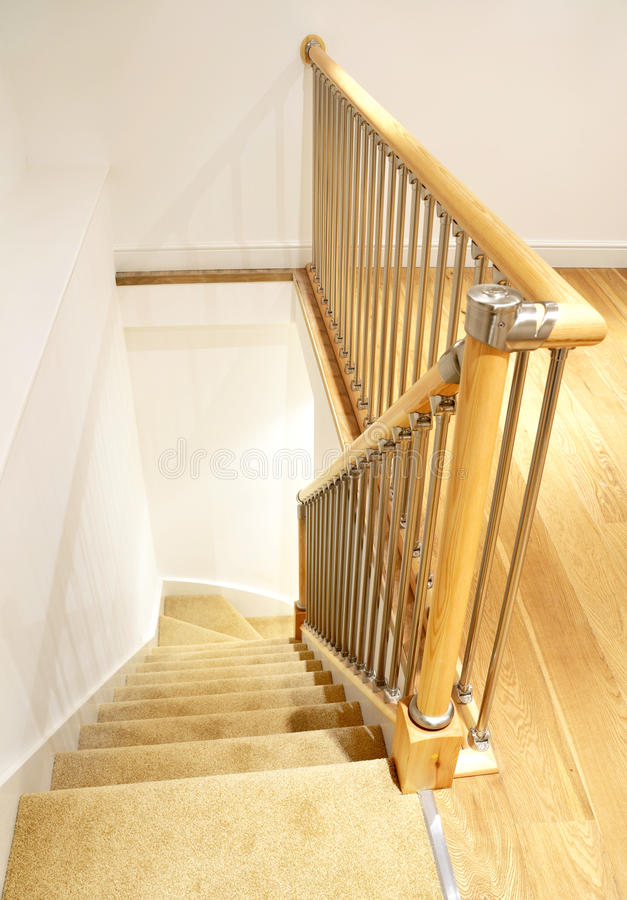 Modern House Interior Stairs With Chrome Railing Stock Image Image 19487959