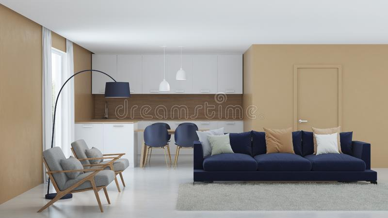 Modern house interior. Warm color in the interior. royalty free stock photos