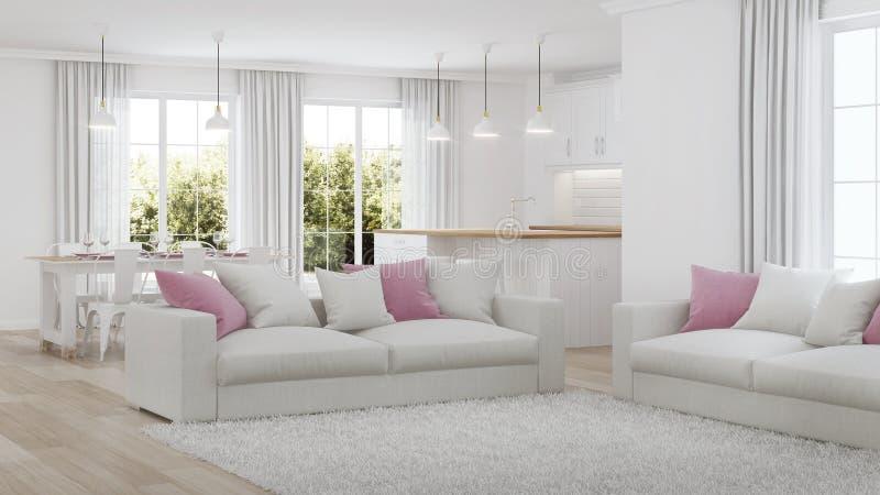 Modern house interior. White interior. 3D rendering stock images
