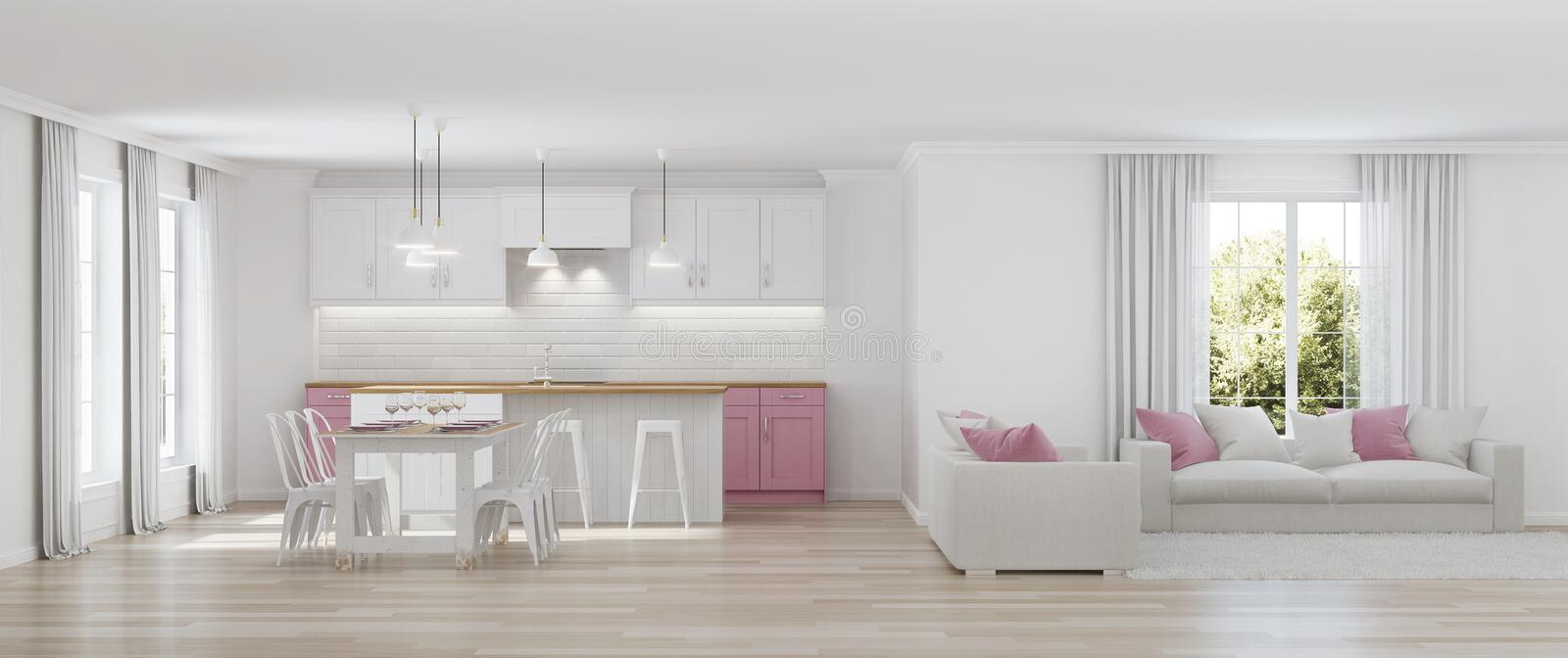 Modern house interior. White interior. 3D rendering royalty free stock photos