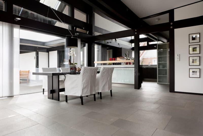 Modern house, living-room stock image