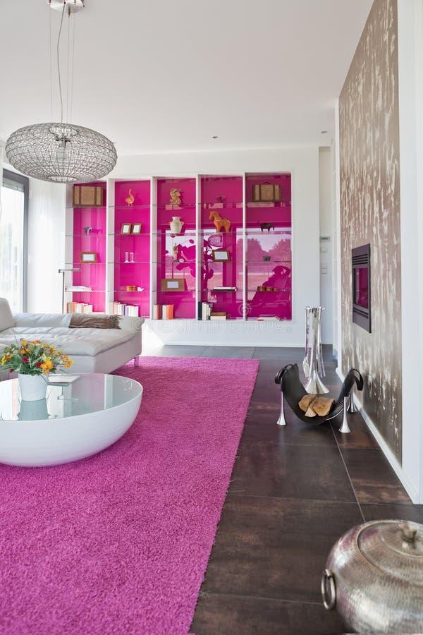 Modern house, living-room stock images