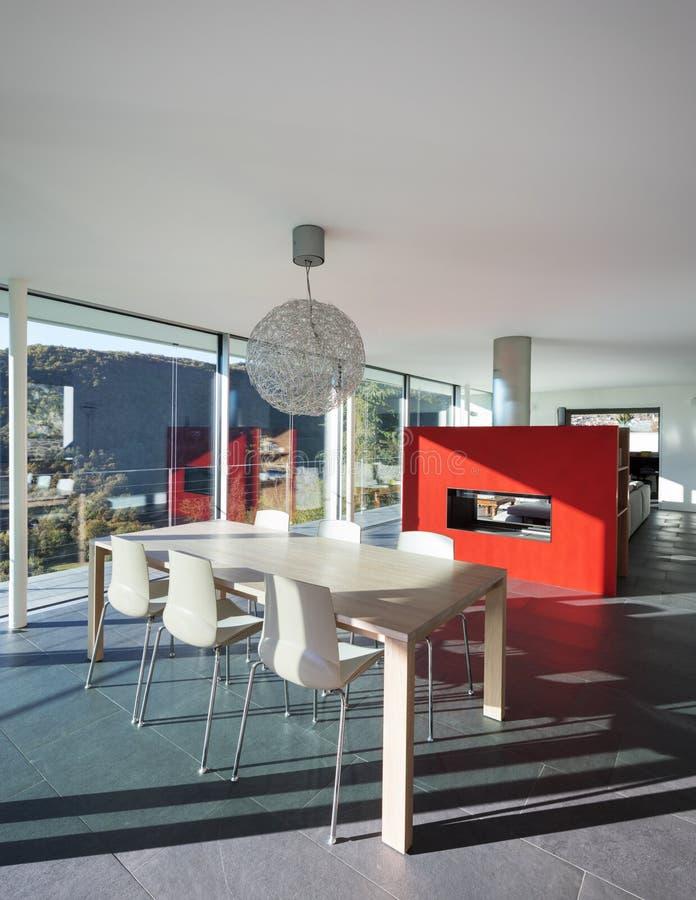 Modern villa interiors, living room stock images