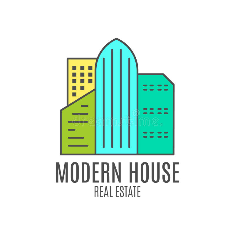 Modern house logo design, real estate icon suitable for info graphics, websites and print media. , flat , badge, label vector illustration