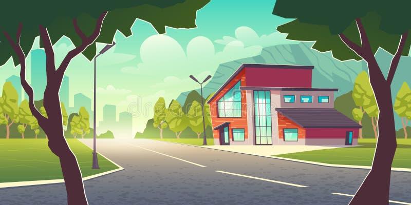 Modern house in metropolis suburb cartoon vector stock illustration
