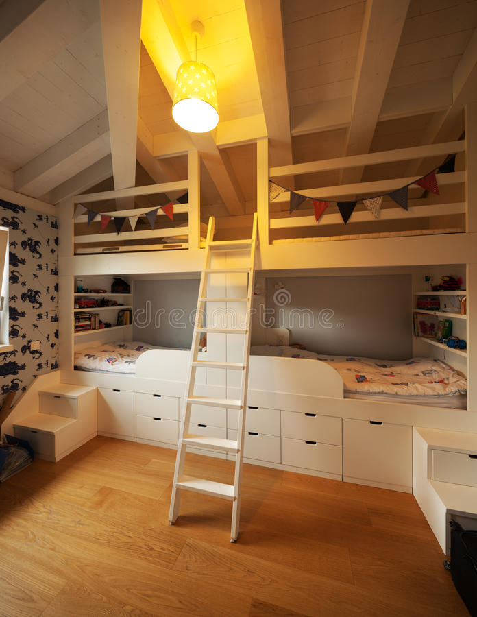 Modern house, modern bedroom stock images