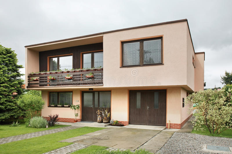 Modern house near Liptovsky Mikulas. Slovakia.  stock photo