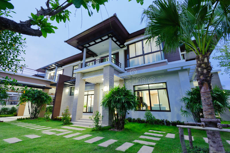 Modern house at night royalty free stock photography