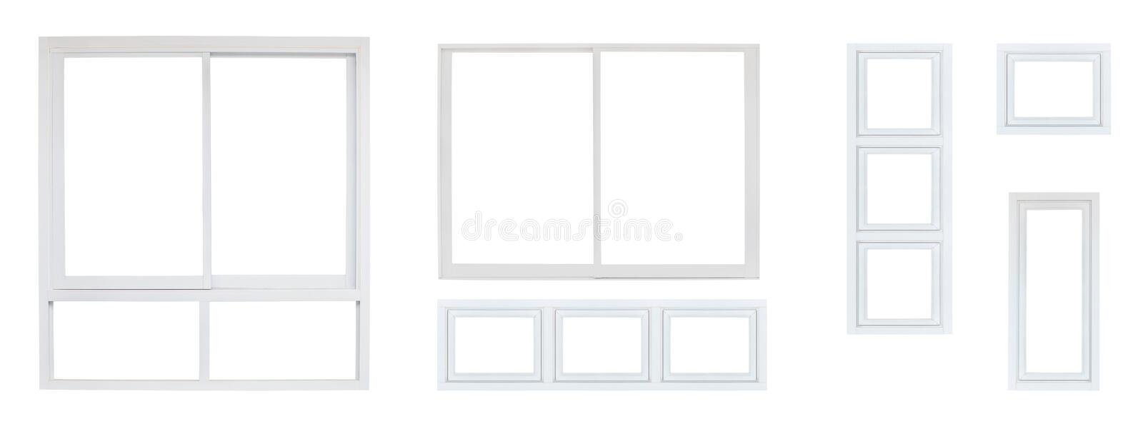 House office or frontstore windows frame set collection isolated on white background. Modern house office or frontstore windows frame set collection isolated on royalty free stock photo