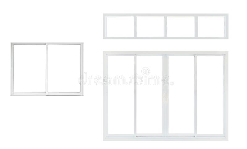 Modern house office or frontstore windows frame set collection isolated on white. Background royalty free stock photos
