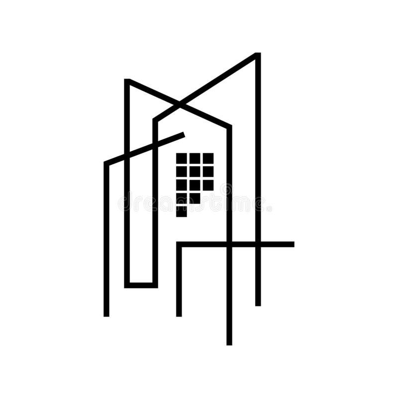 Modern house Real estate Apartment flat line building logo Vector icon. Commercial, condo, home, illustration, linear, mortgage, office, outline, ownership royalty free illustration