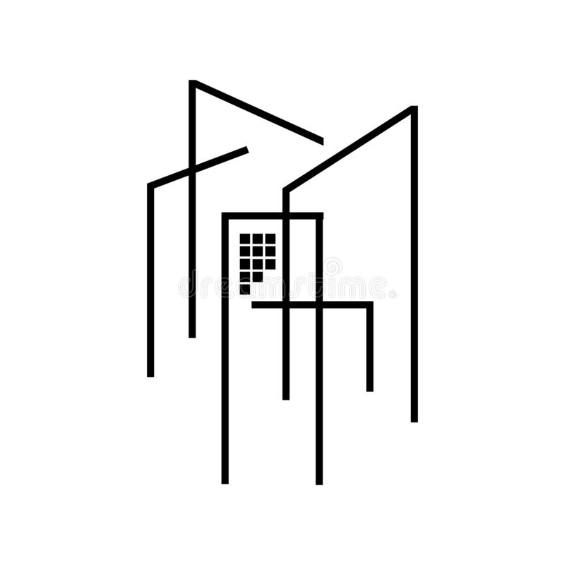 Modern house Real estate Apartment flat line building logo Vector icon. Commercial, condo, home, illustration, linear, mortgage, office, outline, ownership stock illustration
