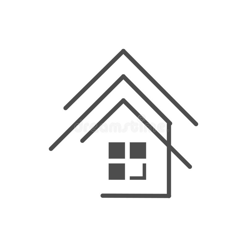 Modern house Real estate Apartment flat line building logo Vector icon. Commercial, condo, home, illustration, linear, mortgage, office, outline, ownership vector illustration