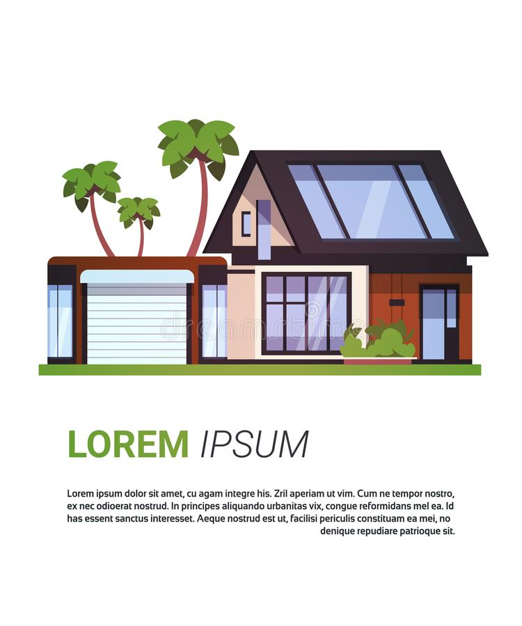 Modern House Real Estate Sign Home Building Design Isolated On Background With Copy Space royalty free illustration