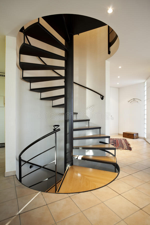 Modern House Spiral Staircase Stock Image Image of design inside