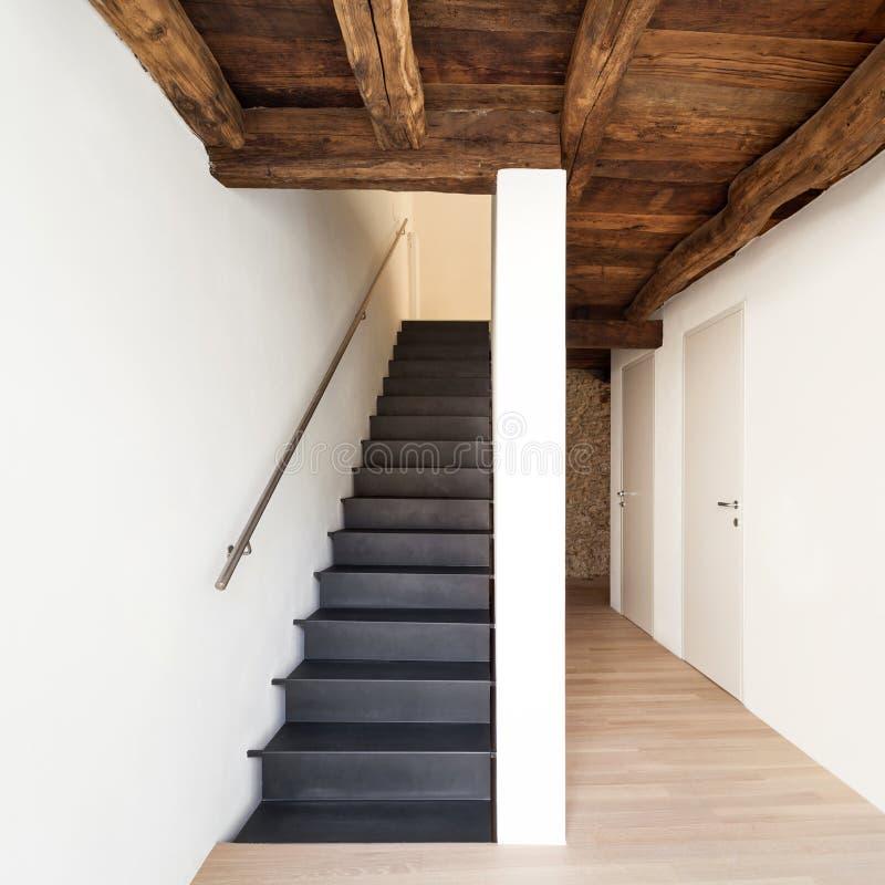 Modern house, staircase stock photo