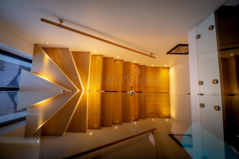 Modern house stairway from top down view stock photography