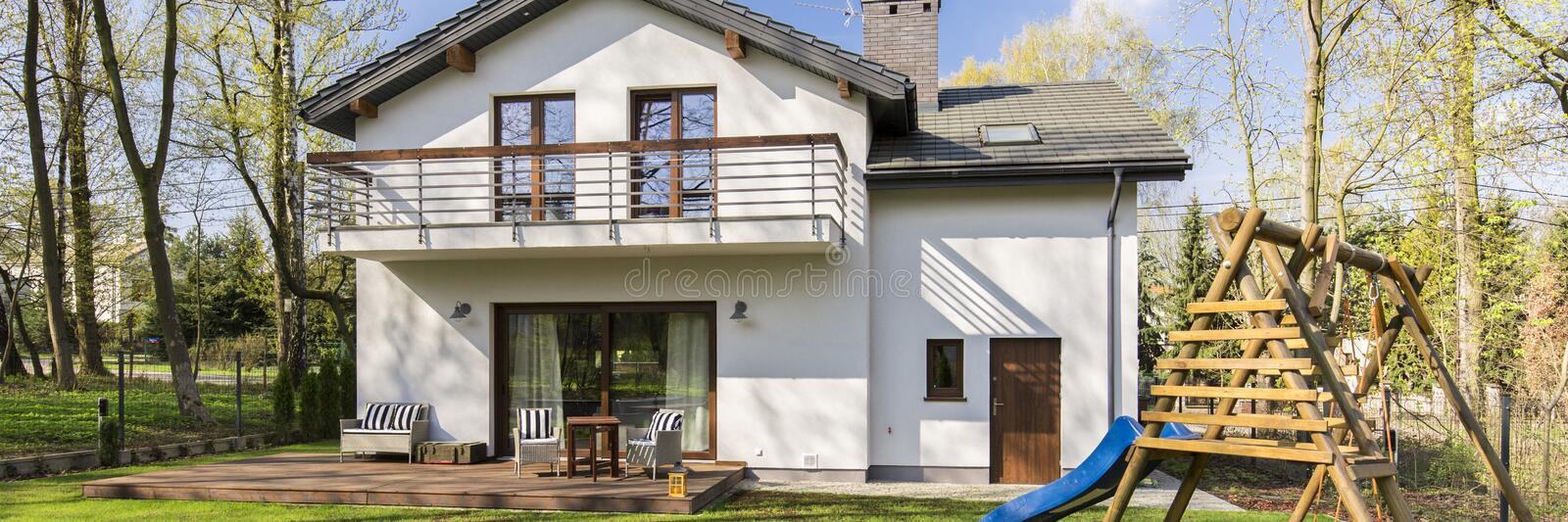 Modern house in the suburbs stock images