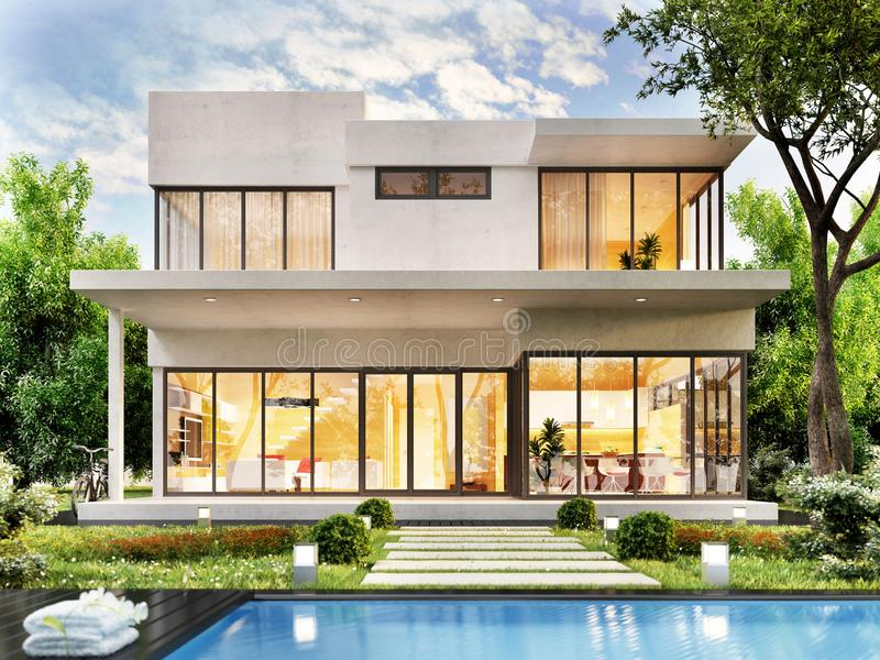 Modern house white with swimming pool royalty free stock images