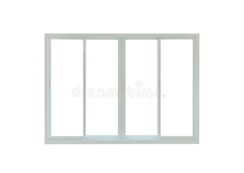 Modern house window frame isolated on white. Background stock photo