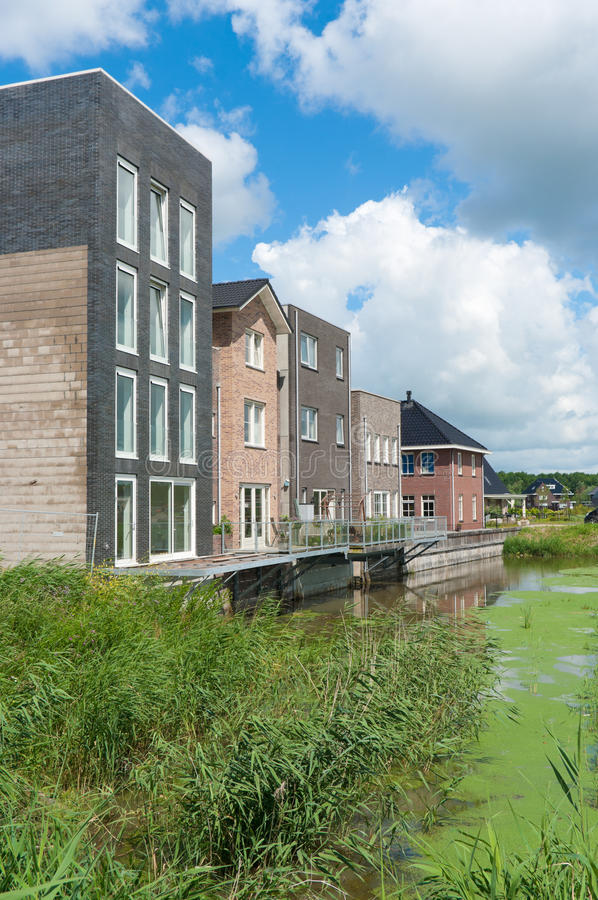 Modern houses. Newly build modern houses in Almere, Netherlands stock photography
